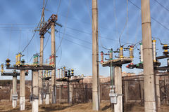 Transformer in high voltage substation Royalty Free Stock Image