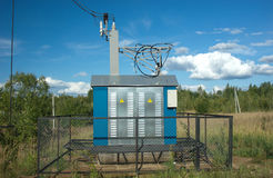 Transformer Of Rural Power Supply Line In Countrys Stock Photography