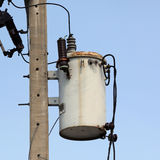 Transformer. Old transformer on electric pole Royalty Free Stock Photo