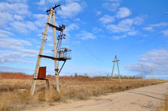 Transformer and power line Royalty Free Stock Photos