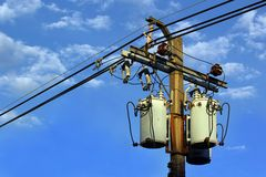 Transformer. And power lines on electric pole Stock Images