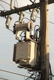 Transformer and power lines on electric pole royalty free stock photo