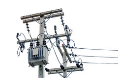 Transformer And Power Lines On White Background. Stock Photo