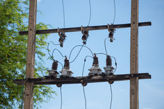 Transformer with protection systems on concrete pole Stock Photography