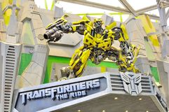 Transformer The Ride. The picture illustrates an autobot, Bumble Bee in the Universal Studio Singapore, which stands at the main entrance of the transformer the Royalty Free Stock Images