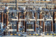 Transformer station closeup Royalty Free Stock Photos