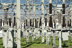 Transformer station. Electrical Transformer station in front of blue sky Stock Photo