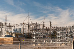 Transformer Station - Electrical Substation. An electrical substation steps down high voltage electricity for domestic and commercial distribution Royalty Free Stock Photos