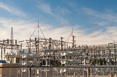 Transformer Station - Electrical Substation. An electrical substation steps down high voltage electricity for domestic and commercial distribution Stock Photography