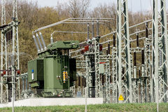 Transformer station. A transformer station in Germany Royalty Free Stock Image