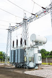 Transformer station and high voltage electric pole Royalty Free Stock Photo