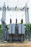 Transformer station and the high voltage electric pole Stock Photo