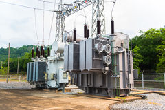 Transformer station and the high voltage electric pole Stock Photos