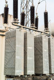 Transformer station and the high voltage electric pole Stock Photography