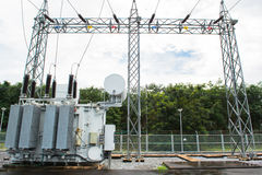Transformer station and the high voltage pole Royalty Free Stock Image