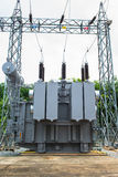 Transformer station and the high voltage pole Stock Image