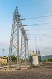 Transformer station and the high voltage pole Stock Photos