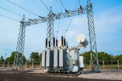 Transformer station and the high voltage pole Royalty Free Stock Photo