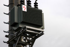 Transformer sub-station. Outdoor on the post Royalty Free Stock Photo