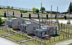 Transformer substation and electric power Royalty Free Stock Image