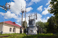 Transformer substation of high voltage on the railway station Royalty Free Stock Images