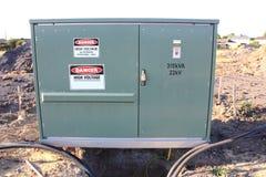 Transformer substation with warning signs Royalty Free Stock Photo