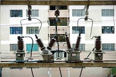 Transformer That transforms the high voltage light into a low voltage light. royalty free stock image