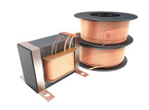 Transformer and wire reels. Stock Image