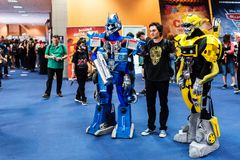Transformers cosplayers and visitors taking pictures. At the EECC 2017, Bucharest, Romania at the Romexpo Stock Photo