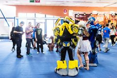 Transformers cosplayers and visitors taking pictures. At the EECC 2017, Bucharest, Romania at the Romexpo Stock Image