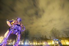 Transformers in Zagreb at night Stock Image