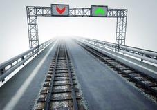 Transformez l'autoroute au transport ferroviaire écologique Images stock