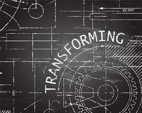 Transforming Blackboard Machine. Transforming text with gear wheels hand drawn on blackboard machine background Stock Images