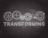 Transforming Blackboard. Transforming text with gear wheels hand drawn on blackboard background Stock Photos