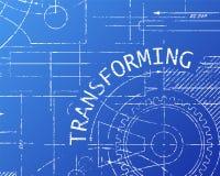 Transforming Blueprint Machine. Transforming word on machine blueprint background illustration Stock Image