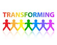 Transforming Paper People Rainbow. Transforming cut out paper people chain in rainbow colors Stock Image