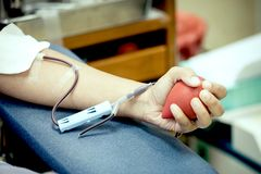 Transfusion blood donation. In the hospital Stock Photography