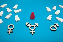 Transgender bisexual cure, discrimination. Blue background. stock photography