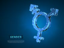 Transgender duma, ludzie symboli/lów Wireframe cyfrowa 3d ilustracja Niski poli-, Abstrakcjonistyczny Wektorowy poligonalny neono ilustracji