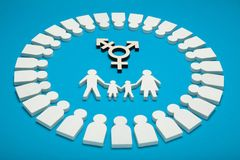 Transgender family, alternative gay parents. Adopted child with homosexual couple royalty free stock photography