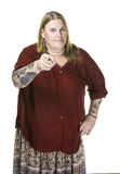 Transgender kobieta w Perełkowy kolii Wskazywać Obraz Stock