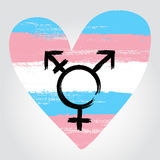 Transgender pride flag in a form of heart with transgender symbo Stock Photos