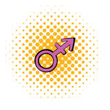 Transgender sign icon, comics style Stock Images