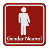 Transgender Sign. Red and White Sign with a transgender symbol with text Gender Neutral Stock Photo