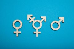 Transgender symbol, activism and rights. Civil trans, bisexual concept stock photo