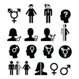 Transgender symbol, gender dysphoria, transsexual concept icons set Royalty Free Stock Image
