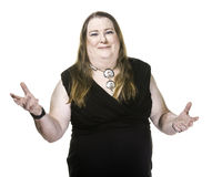 Transgender Woman in Black Dress with Hands Outstretched Royalty Free Stock Image