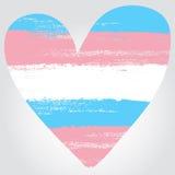 Transgenderstolthetflagga i en form av hjärta Fotografering för Bildbyråer