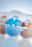 Transgenic food. Eggs package, the blue egg stands for GMO food Stock Photography