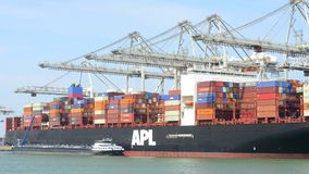 Transhipment in Rotterdam Harbor. ROTTERDAM, NETHERLANDS - 24 JUNE 2015: Timelapse of a large container ship being unloaded in Rotterdam Harbor, with a supply stock footage